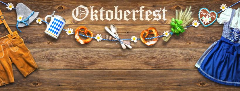 Oktoberfest banner with beer mug and pretzels