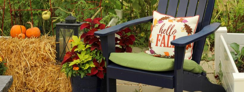 Autumn decorations on front porch