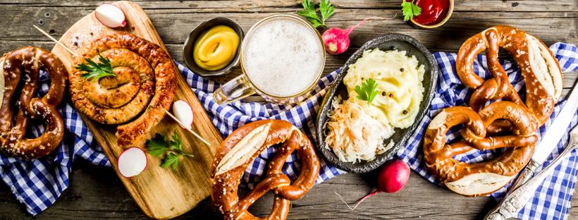Bavarian sausages, sauerkraut and pretzels