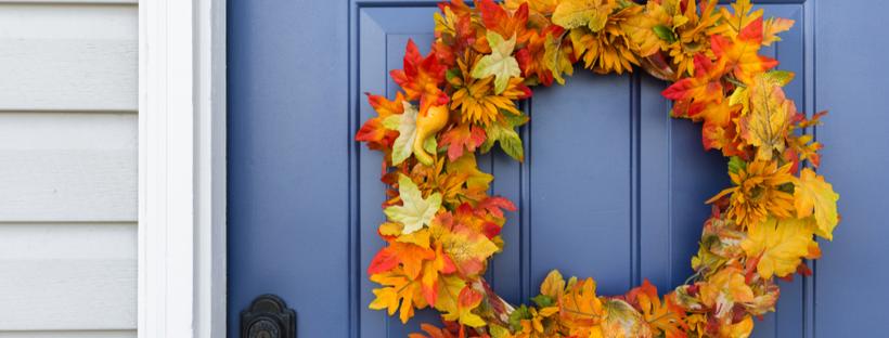 Autumn wreath on front door